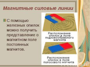С помощью железных опилок можно получить представление о магнитном поле постоянн