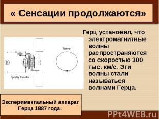 Герц установил, что электромагнитные волны распространяются со скоростью 300 тыс