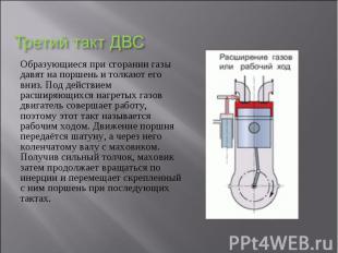 Образующиеся при сгорании газы давят на поршень и толкают его вниз. Под действие