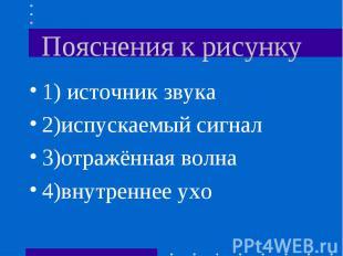 1) источник звука 1) источник звука 2)испускаемый сигнал 3)отражённая волна 4)вн