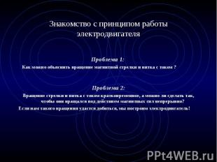 Проблема 1: Как можно объяснить вращение магнитной стрелки и витка с током ? Про