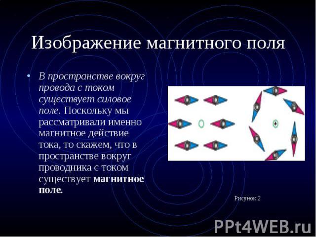 В пространстве вокруг провода с током существует силовое поле. Поскольку мы рассматривали именно магнитное действие тока, то скажем, что в пространстве вокруг проводника с током существует магнитное поле. В пространстве вокруг провода с током сущест…