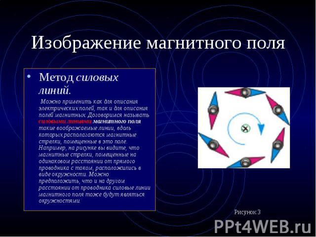 Метод силовых линий. Метод силовых линий. Можно применить как для описания электрических полей, так и для описания полей магнитных. Договоримся называть силовыми линиями магнитного поля такие воображаемые линии, вдоль которых располагаются магнитные…