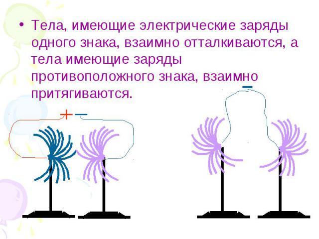 Тела, имеющие электрические заряды одного знака, взаимно отталкиваются, а тела имеющие заряды противоположного знака, взаимно притягиваются. Тела, имеющие электрические заряды одного знака, взаимно отталкиваются, а тела имеющие заряды противоположно…