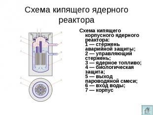 Схема кипящего корпусного ядерного реактора: 1— стержень аварийной защиты;