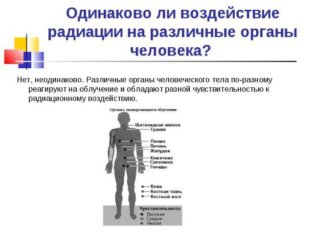Нет, неодинаково. Различные органы человеческого тела по-разному реагируют на облучение и обладают разной чувствительностью к радиационному воздействию. Нет, неодинаково. Различные органы человеческого тела по-разному реагируют на облучение и облада…