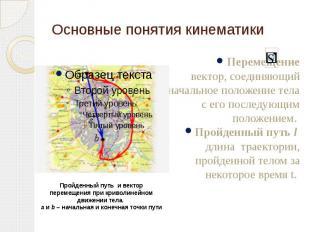 Основные понятия кинематики Перемещение вектор, соединяющий начальное положение