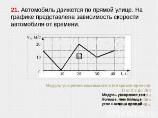 Модуль ускорения максимален в интервале времени 1) от 0 с до 10 с 2) от 10