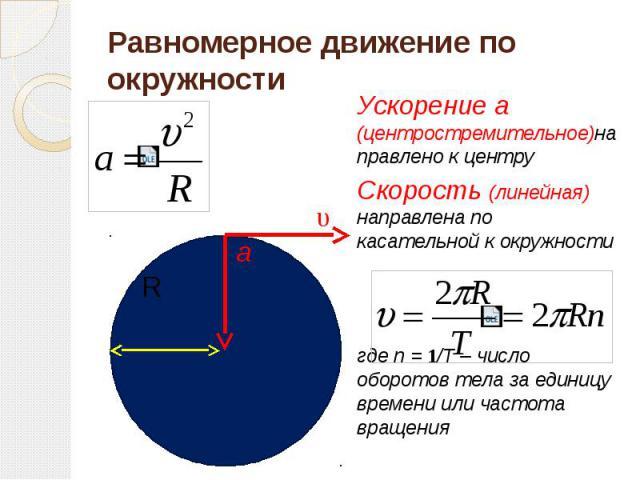 Равномерное движение по окружности Ускорение а (центростремительное)направлено к центру Скорость (линейная) направлена по касательной к окружности где n = 1/T – число оборотов тела за единицу времени или частота вращения