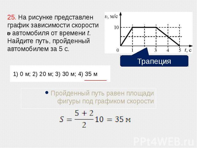1) 0 м; 2) 20 м; 3) 30 м; 4) 35 м