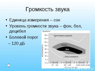 Единица измерения – сон Единица измерения – сон Уровень громкости звука – фон, б