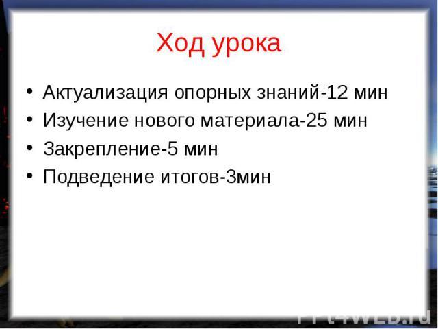 Актуализация опорных знаний-12 мин Актуализация опорных знаний-12 мин Изучение нового материала-25 мин Закрепление-5 мин Подведение итогов-3мин