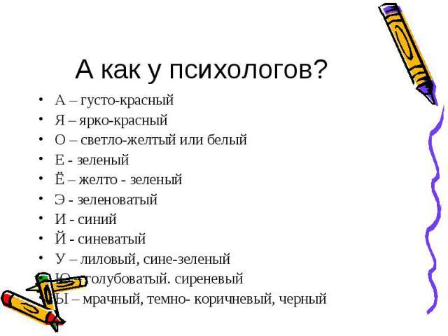 А – густо-красный А – густо-красный Я – ярко-красный О – светло-желтый или белый Е - зеленый Ё – желто - зеленый Э - зеленоватый И - синий Й - синеватый У – лиловый, сине-зеленый Ю – голубоватый. сиреневый Ы – мрачный, темно- коричневый, черный