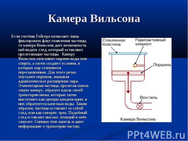 Если счетчик Гейгера позволяет лишь фиксировать факт появления частицы, то камера Вильсона дает возможность наблюдать след, который оставляют пролетающие частицы. Камеру Вильсона заполняют парами воды или спирта, а затем создают условия, в которых п…