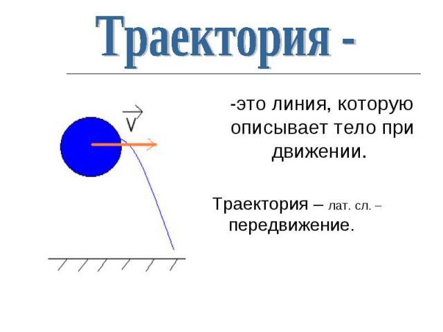 -это линия, которую описывает тело при движении. -это линия, которую описывает тело при движении. Траектория – лат. сл. – передвижение.