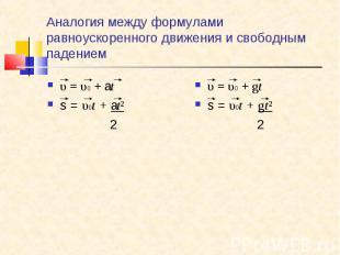 υ=υ0+аt υ=υ0+аt s = υ0t + аt² 2