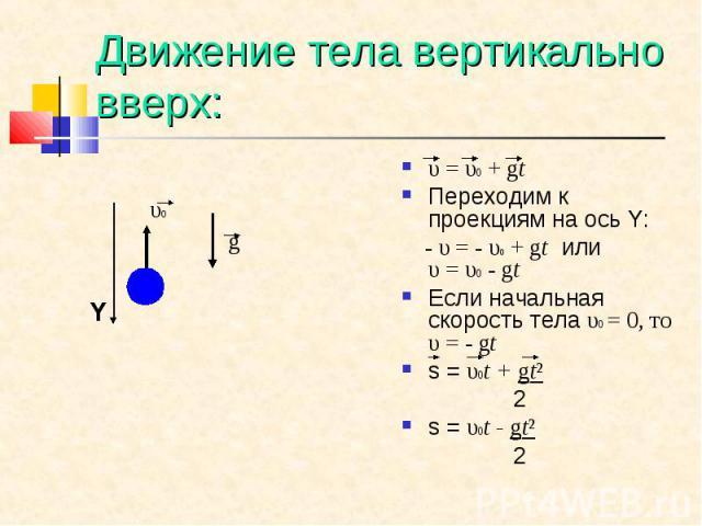 υ=υ0+gt υ=υ0+gt Переходим к проекциям на ось Y: - υ=- υ0+gt или υ=υ0-gt Если начальная скорость тела υ0 = 0, то υ=- gt s = υ0t + gt² 2 s = υ0…