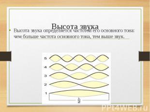 Высота звука определяется частотой его основного тона: чем больше частота основн
