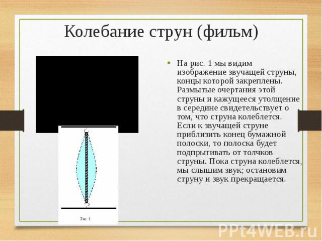 На рис. 1 мы видим изображение звучащей струны, концы которой закреплены. Размытые очертания этой струны и кажущееся утолщение в середине свидетельствует о том, что струна колеблется. Если к звучащей струне приблизить конец бумажной полоски, то поло…