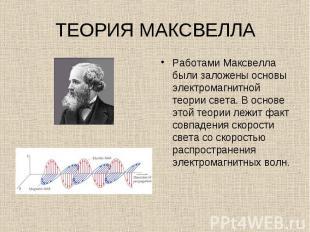Работами Максвелла были заложены основы электромагнитной теории света. В основе