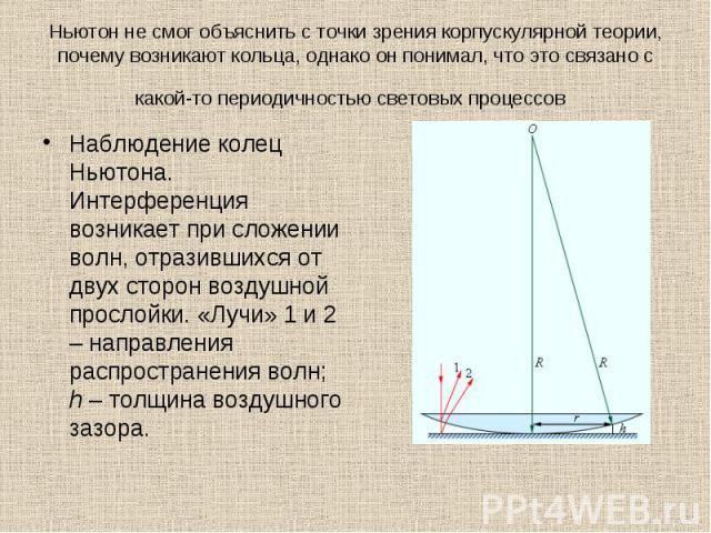 Наблюдение колец Ньютона. Интерференция возникает при сложении волн, отразившихся от двух сторон воздушной прослойки. «Лучи» 1 и 2 – направления распространения волн; h – толщина воздушного зазора. Наблюдение колец Ньютона. Интерференция возникает п…
