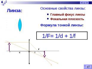 Главный фокус линзы Главный фокус линзы Фокальная плоскость