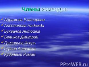 Абрамова Екатерина Абрамова Екатерина Апполонова Надежда Бухвалов Антошка Белико