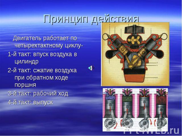 Двигатель работает по четырехтактному циклу- Двигатель работает по четырехтактному циклу- 1-й такт: впуск воздуха в цилиндр 2-й такт: сжатие воздуха при обратном ходе поршня 3-й такт: рабочий ход 4-й такт: выпуск