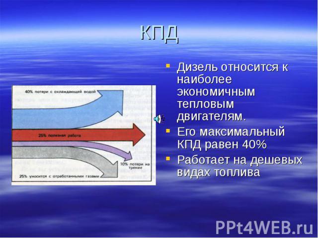 Дизель относится к наиболее экономичным тепловым двигателям. Дизель относится к наиболее экономичным тепловым двигателям. Его максимальный КПД равен 40% Работает на дешевых видах топлива