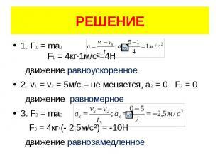РЕШЕНИЕ 1. F1 = ma1 F1 = 4кг·1м/с²=4Н движение равноускоренное 2. v1 = v2 = 5м/с