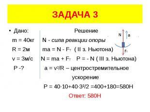 ЗАДАЧА 3 Дано: Решение m = 40кг N - сила реакции опоры R = 2м ma = N - FT ( II з