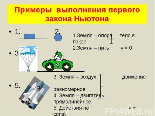 Примеры выполнения первого закона Ньютона 1. 2. 3. 4. 5.