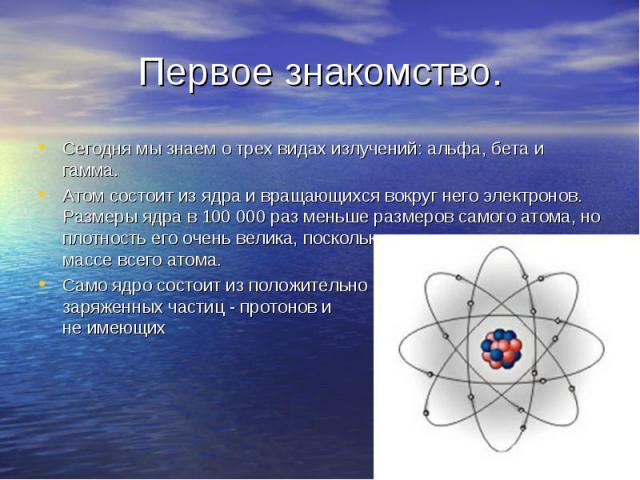 Сегодня мы знаем о трех видах излучений: альфа, бета и гамма. Сегодня мы знаем о трех видах излучений: альфа, бета и гамма. Атом состоит из ядра и вращающихся вокруг него электронов. Размеры ядра в 100 000 раз меньше размеров самого атома, но плотно…