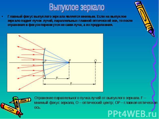 Главный фокус выпуклого зеркала является мнимым. Если на выпуклое зеркало падает пучок лучей, параллельных главной оптической оси, то после отражения в фокусе пересекутся не сами лучи, а их продолжения. Главный фокус выпуклого зеркала является мнимы…