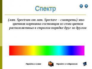 (лат. Spectrum от лат. Spectare – смотреть) это цветная картинка состоящая из се