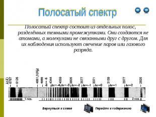 Полосатый спектр состоит из отдельных полос, разделённых темными промежутками. О
