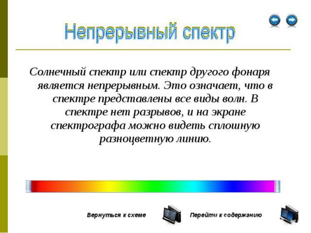 Солнечный спектр или спектр другого фонаря является непрерывным. Это означает, что в спектре представлены все виды волн. В спектре нет разрывов, и на экране спектрографа можно видеть сплошную разноцветную линию. Солнечный спектр или спектр другого ф…