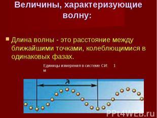 Длина волны - это расстояние между ближайшими точками, колеблющимися в одинаковы