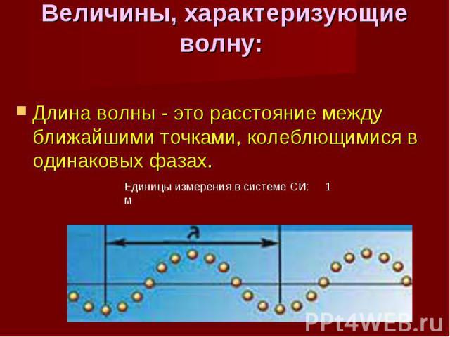 Длина волны - это расстояние между ближайшими точками, колеблющимися в одинаковых фазах. Длина волны - это расстояние между ближайшими точками, колеблющимися в одинаковых фазах.