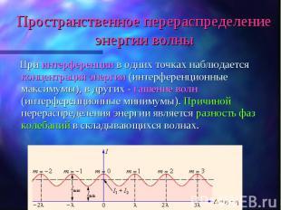 При интерференции в одних точках наблюдается концентрация энергии (интерференцио