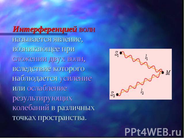 Интерференцией волн называется явление, возникающее при сложении двух волн, вследствие которого наблюдается усиление или ослабление результирующих колебаний в различных точках пространства. Интерференцией волн называется явление, возникающее при сло…