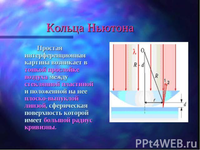 Простая интерференционная картина возникает в тонкой прослойке воздуха между стеклянной пластиной и положенной на нее плоско-выпуклой линзой, сферическая поверхность которой имеет большой радиус кривизны. Простая интерференционная картина возникает …