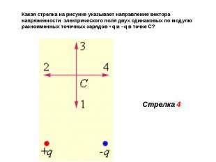 Какая стрелка на рисунке указывает направление вектора напряженности электрическ