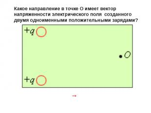 Какое направление в точке О имеет вектор напряженности электрического поля созда