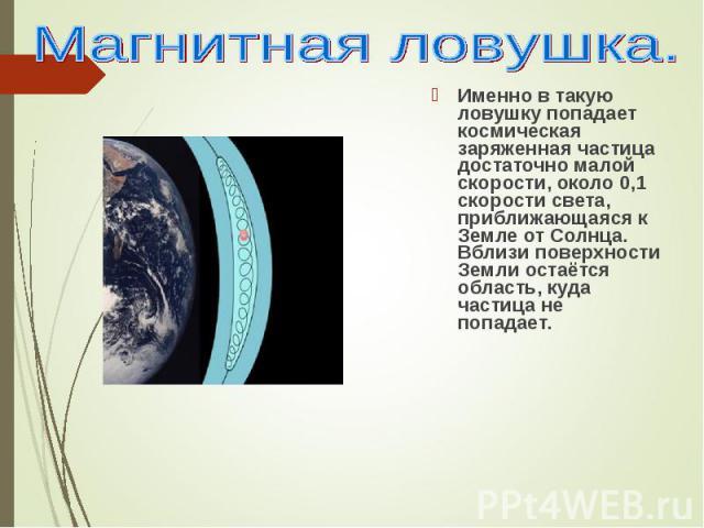 Именно в такую ловушку попадает космическая заряженная частица достаточно малой скорости, около 0,1 скорости света, приближающаяся к Земле от Солнца. Вблизи поверхности Земли остаётся область, куда частица не попадает. Именно в такую ловушку попадае…