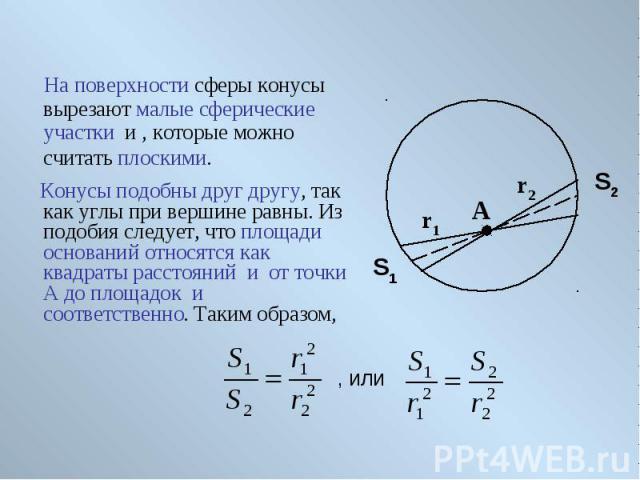 На поверхности сферы конусы вырезают малые сферические участки и , которые можно считать плоскими.