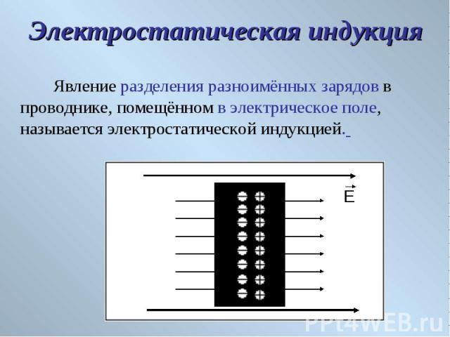 Явление разделения разноимённых зарядов в проводнике, помещённом в электрическое поле, называется электростатической индукцией. Явление разделения разноимённых зарядов в проводнике, помещённом в электрическое поле, называется электростатической индукцией.