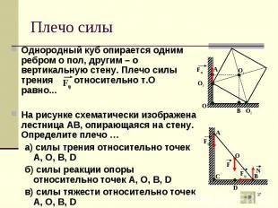 Однородный куб опирается одним ребром о пол, другим – о вертикальную стену. Плеч