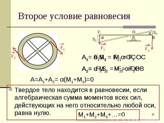 Твердое тело находится в равновесии, если алгебраическая сумма моментов всех сил, действующих на него относительно любой оси, равна нулю. Твердое тело находится в равновесии, если алгебраическая сумма моментов всех сил, действующих на него относител…