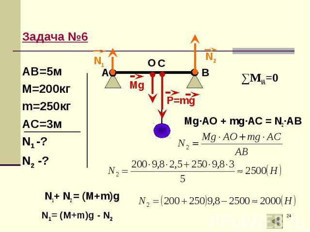 Mg·AO + mg·AC = N2·AB Mg·AO + mg·AC = N2·AB